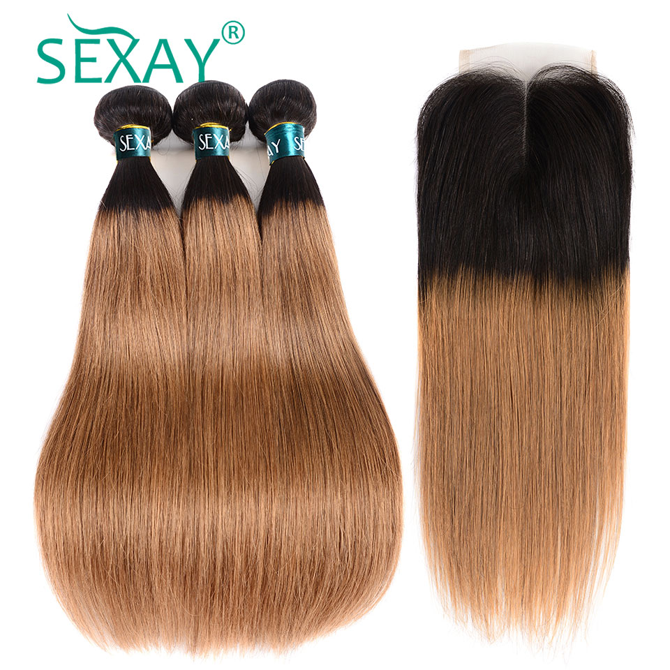 1B 30 Dark Blonde Bundles With Closure Sexay Non Remy 2 Tone Ombre Dark Roots Brazilian