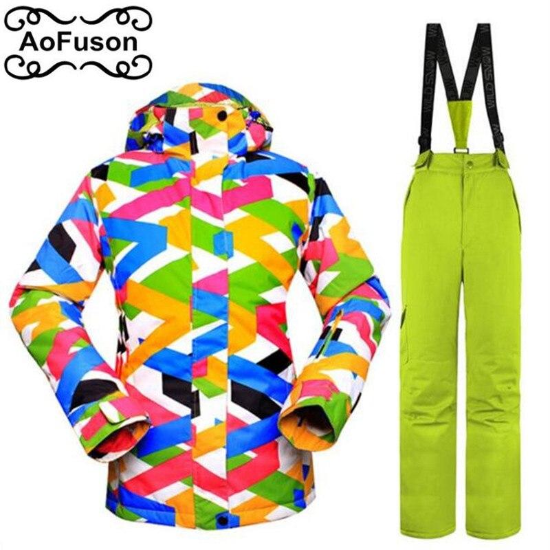 Combinaison de Ski femmes vestes à capuche avec pantalon hiver neige extérieur imperméable coupe-vent épais chaud Ski Snowboard manteau ensemble 2019 nouveau
