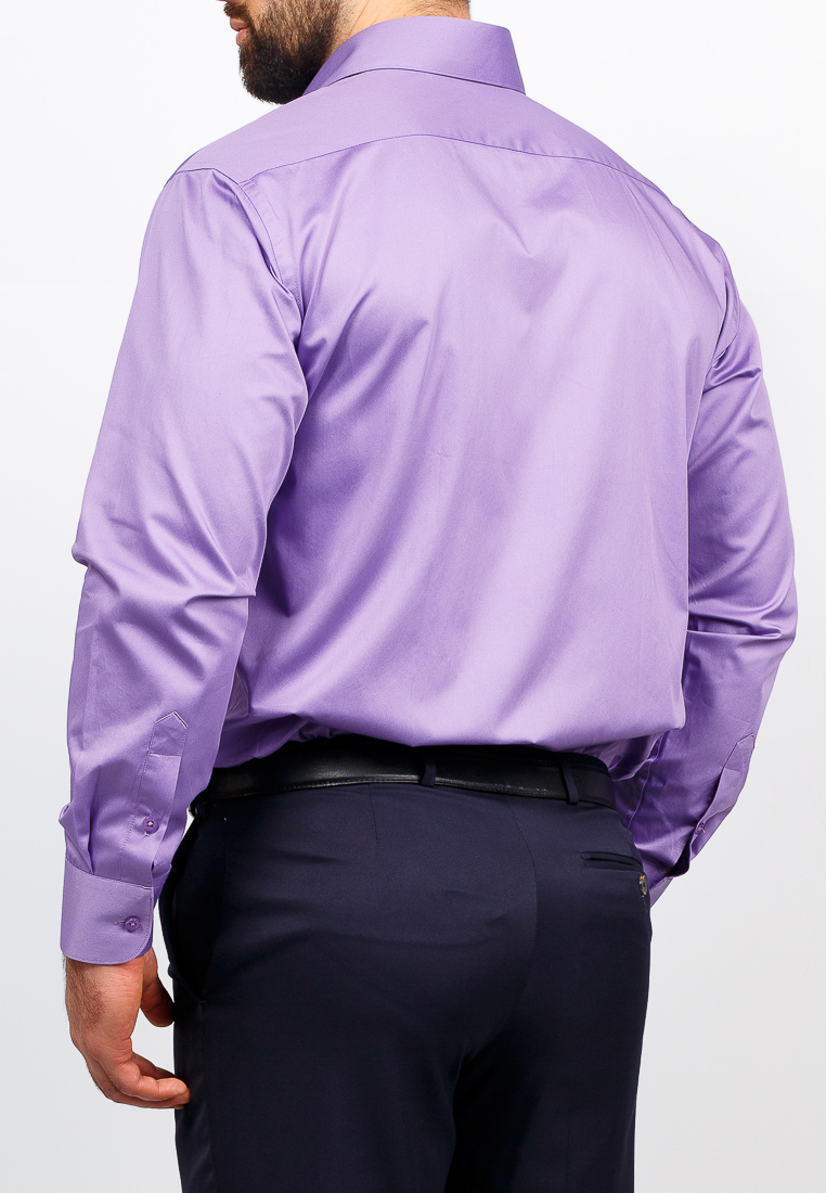 Shirt men's long sleeve GREG Gb730/511/60/2B Lilac plus size bird and floral print v neck long sleeve t shirt