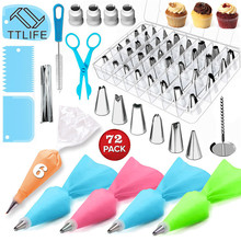 72pcs Cake Decorating Tool Sets with Icing Tips, Pastry Bags, Smoother, Piping Nozzles Coupler DIY Baking Tools