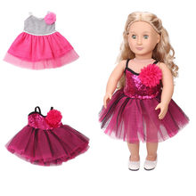 Sling Sequins Pretty Dress for Girl Doll Clothes Fits Outfit For 18 Inch Girl Doll Toys for Girls Baby Doll Accessories(China)