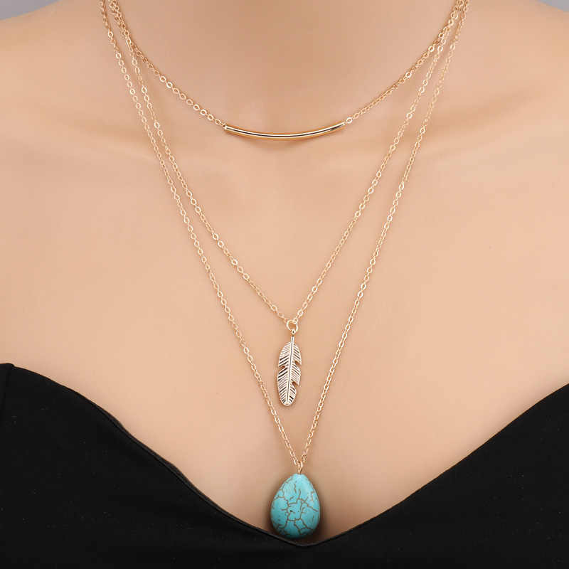 Seblasy ร้อนขาย Multi Layer Moon สามเหลี่ยม Cross Bird Heart สร้อยคอและจี้สำหรับสตรีขนาดใหญ่ยาวเครื่องประดับของขวัญ