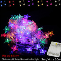 2X Colorful LED Christmas Lights Wedding Party Garden Xmas Battery Led Star String Holiday Light Outdoor
