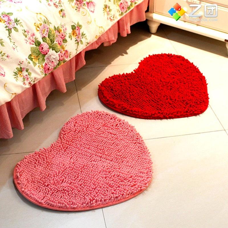 Chenille Flock Bedroom Mats Heart Shaped Floor Mats Doormat Bath/Kitchen Rug Cushion Room Pad Free shipping