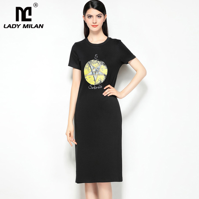 New Arrival 2018 Womens O Neck Short Sleeves Printed High Street Fashion Casual Dresses
