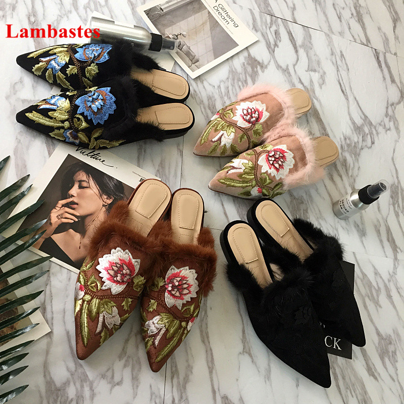 2018 Hot Pointed Toe Flower Emboridery Mules Spring Autumn Cover Toe Outdoor Flat Slippers Zapatillas Mujer Flock Casual Mules pointed toe flat mules