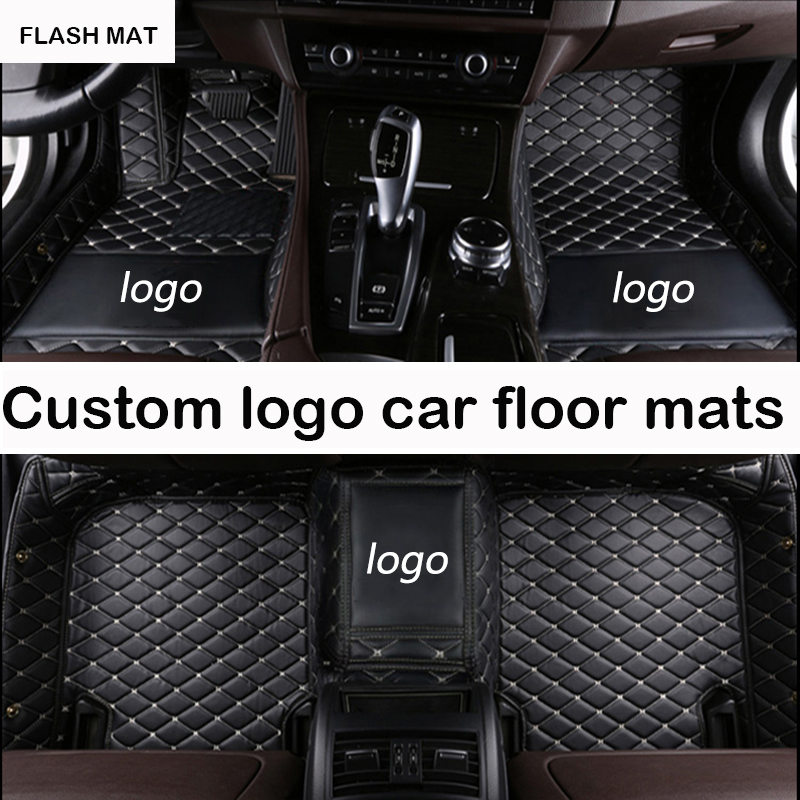 Custom LOGO car floor mats for Honda jazz Honda accord 2003-2017 honda fit civic city crv auto accessories car mats auto floor mats for honda cr v crv 2007 2011 foot carpets step mat high quality brand new embroidery leather mats