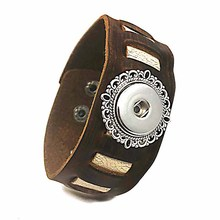 High Quality 146 hand woven Original Genuine Leather Retro fashion charm Bracelet 18mm Snap Button Jewelry For Women men