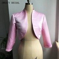 Простой Длинными Рукавами Розового Атласа Свадебное Болеро С Жемчугом Свадебные Невесты Куртки