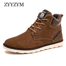 Men Fashion Boots Winter New Lace-up High Style Plush Warm Casual Shoes Male Flat Cotton Boot Large size 46 47