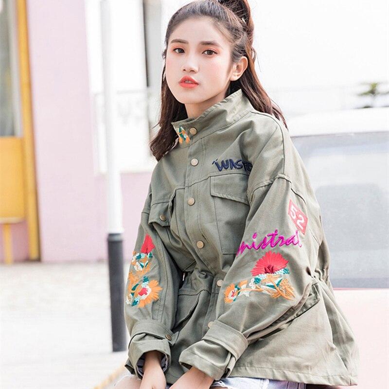 Lâche 2018 Taille Fleur Montant Casual Mode Col black Printemps Automne Green La Mince Military Veste Feman Plus Femmes Nouveau Manteau Outwear Broderie Xy02 rfxpPr6qw0