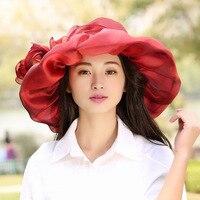 Lüks Kadınlar Yaz Şapka 4 Katmanlar Organze Brim Sun Şapka geniş Brim Derby Düğün Kilisesi Fascinator Şapkalar Bayanlar Disket Kova şapka