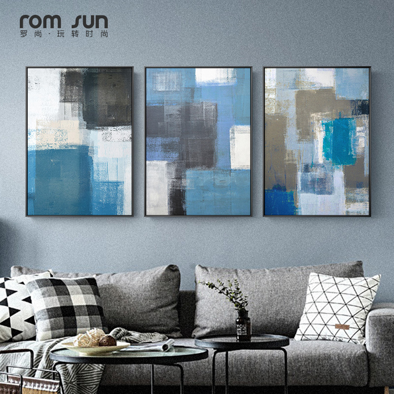 Abstract Geometry Canvas Painting Black White Blue Posters And Prints Wall Art Picture For Living Room Modern Nordic Home Decor