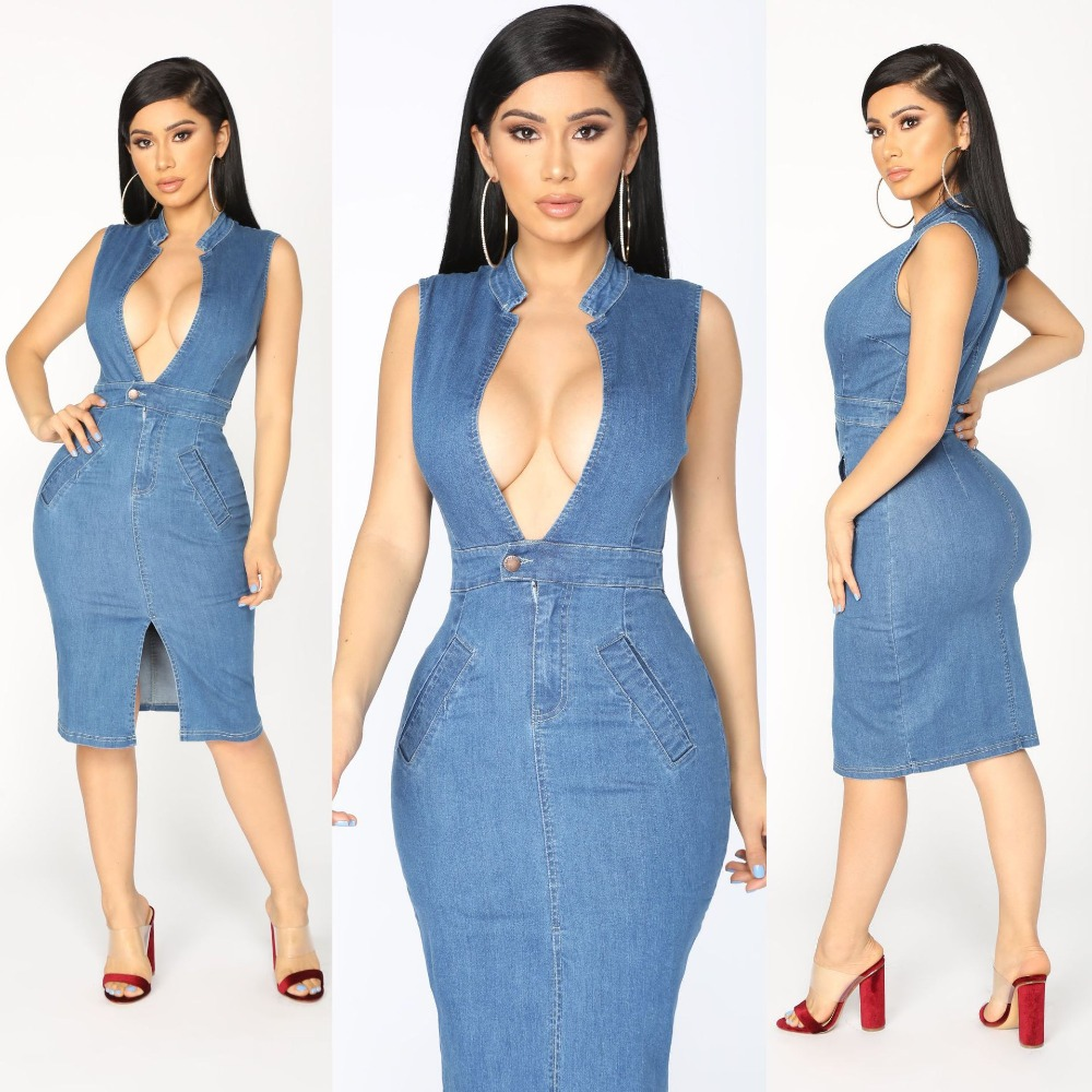 Sexy Off Shoulder Summer Deep-V Jeans Dress Vestidos Women Casual Slim Girls Denim Dress 2018 Dresses OSM-SJ3115