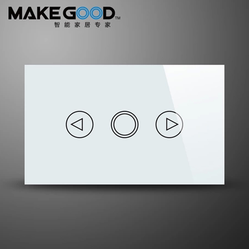 MakeGood US Standard Crystal Glass Panel Dimmer Touch Light Switch,Wall Dimmer switch with blue LED backlight