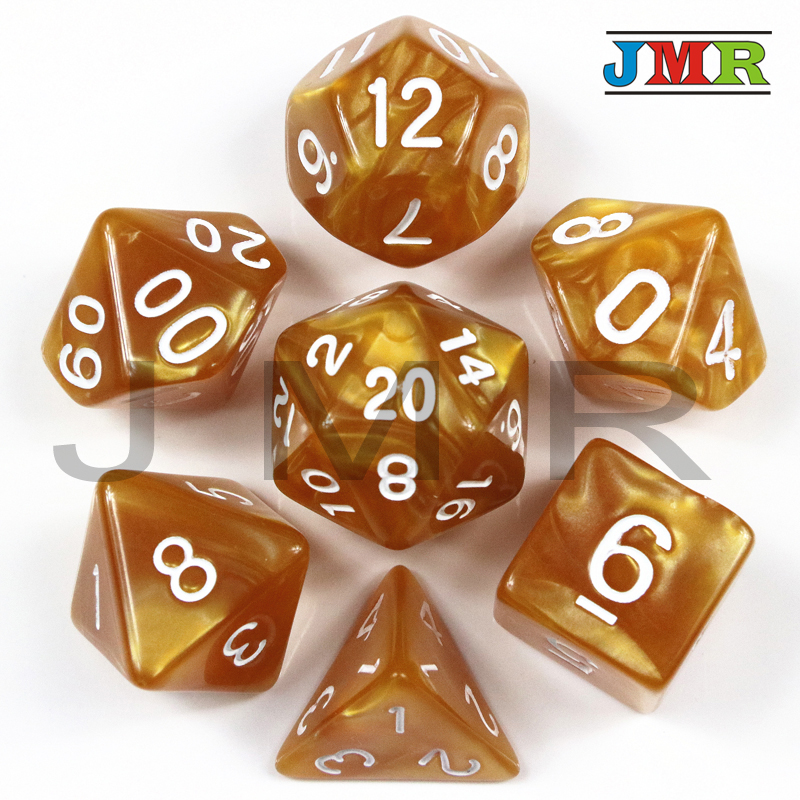 Dados De Rpg 7Pcs/Set Polyhedral RPG Games Acrylic Dice With Marble Effect D4-D20 Multi Sides Dice Pop For Dungeons & Dragons