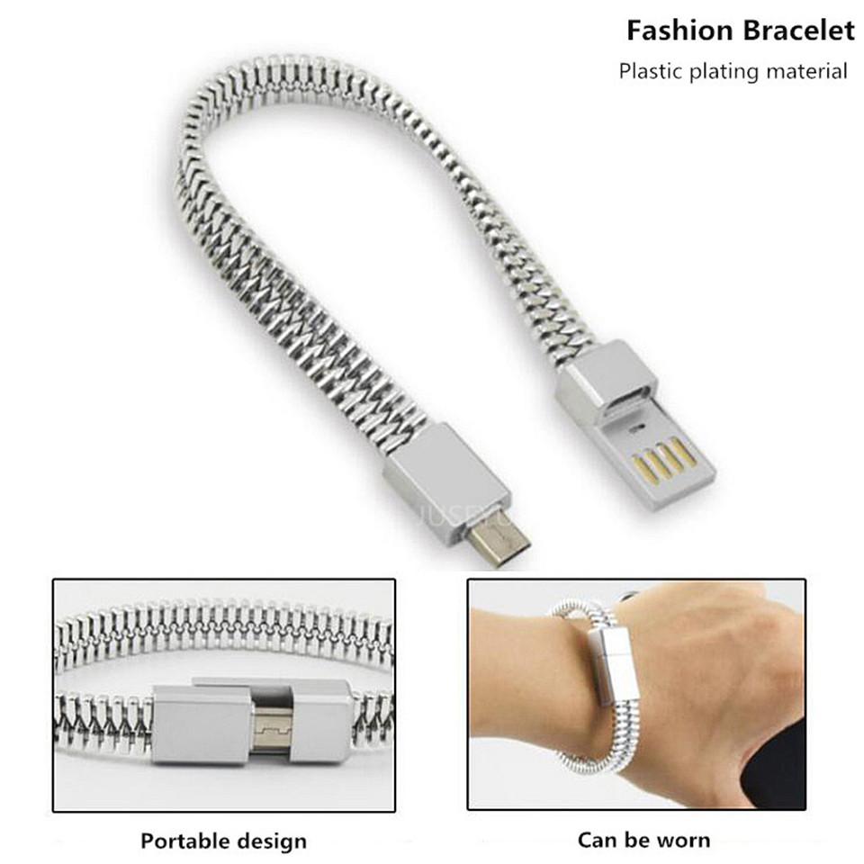 Portable Outdoor Mini Micro USB Bracelet Charger Data Cable For iPhone X XS Max XR Android Type C Phone Charging Sync Cord Cable in Mobile Phone Chargers from Cellphones Telecommunications