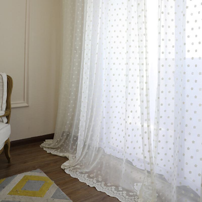 Beige Korean Mesh Flowers Lace Gauze Window Screens Curtains For Living Room Warp Knitting Embroidery Tulle for Bedroom|Curtains| |  - title=