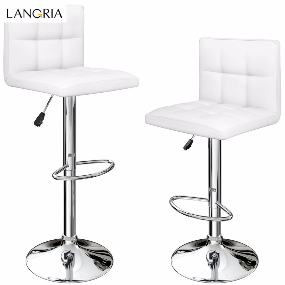 LANGRIA Set Of 2 Gas Lift Height Adjustable Swivel Quilted Faux Leather Bar Stools Chairs With Chromed Base And Footrest Office(China)
