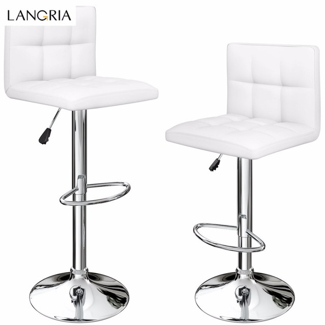 quilted swivel chair best art studio chairs langria set of 2 gas lift height adjustable faux leather bar stools with chromed base and footrest office