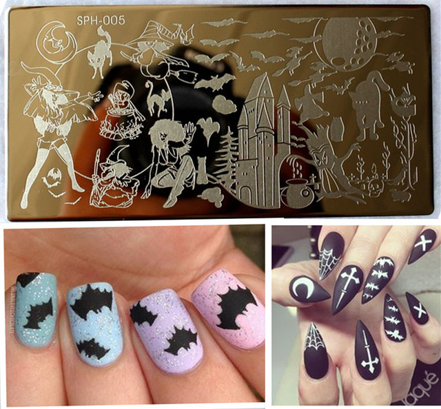 9pcslot Halloween Nail Art Ideas Nail Art Stamp Template Image
