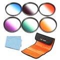 6 pcs 72mm graduado cor lens kit filtro para nikon d3200 d3300 D7100 D7000 D5200 18-200 24-85mm Canon Rebel T5i T4i T3i DSLR