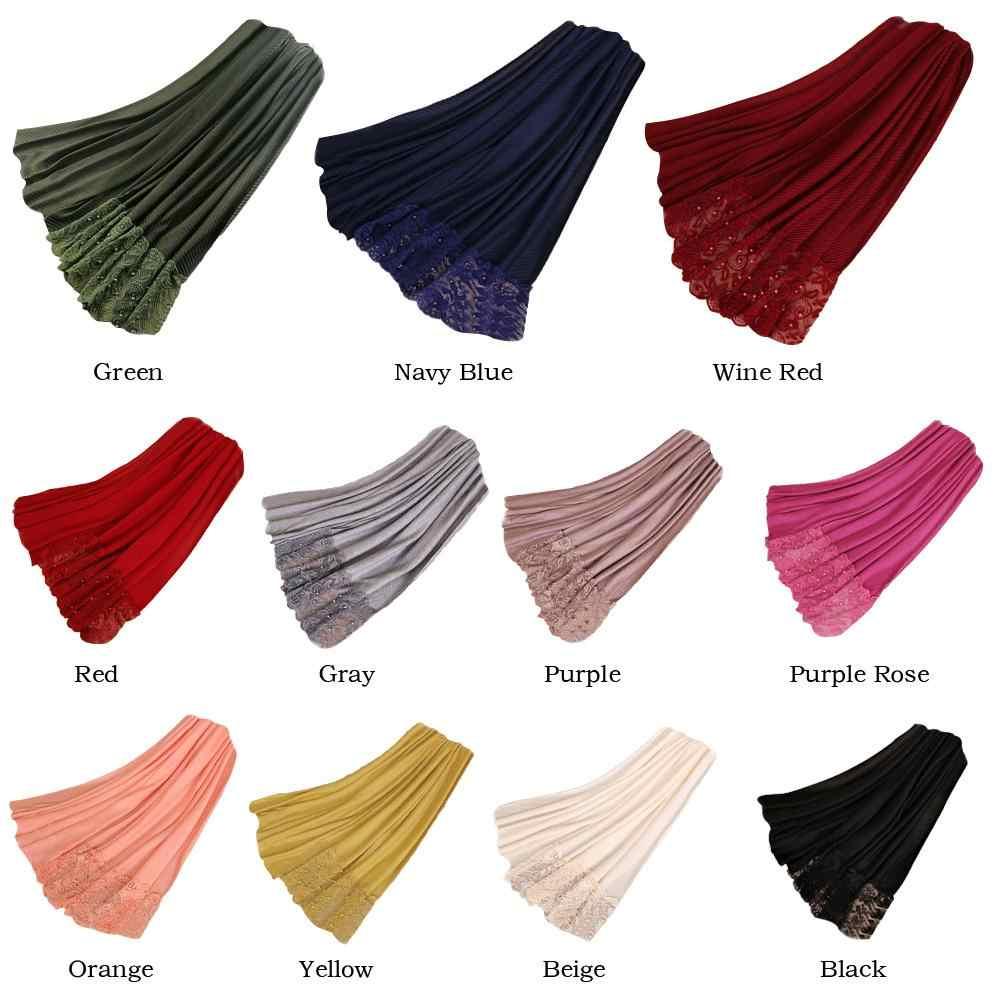 Nueva bufanda de lino de algodón para mujer chal plisado arrugado Hijab musulmán rebordear turbante islámico bufanda abrigo bufanda de cabeza 200*70 CM
