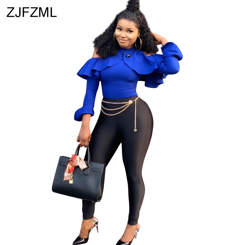 Off The Shoulder Sexy Bandage   Jumpsuit   For Women Long Sleeve Ruffles Full Length Romper Casual Female Zipper Club Party Catsuit