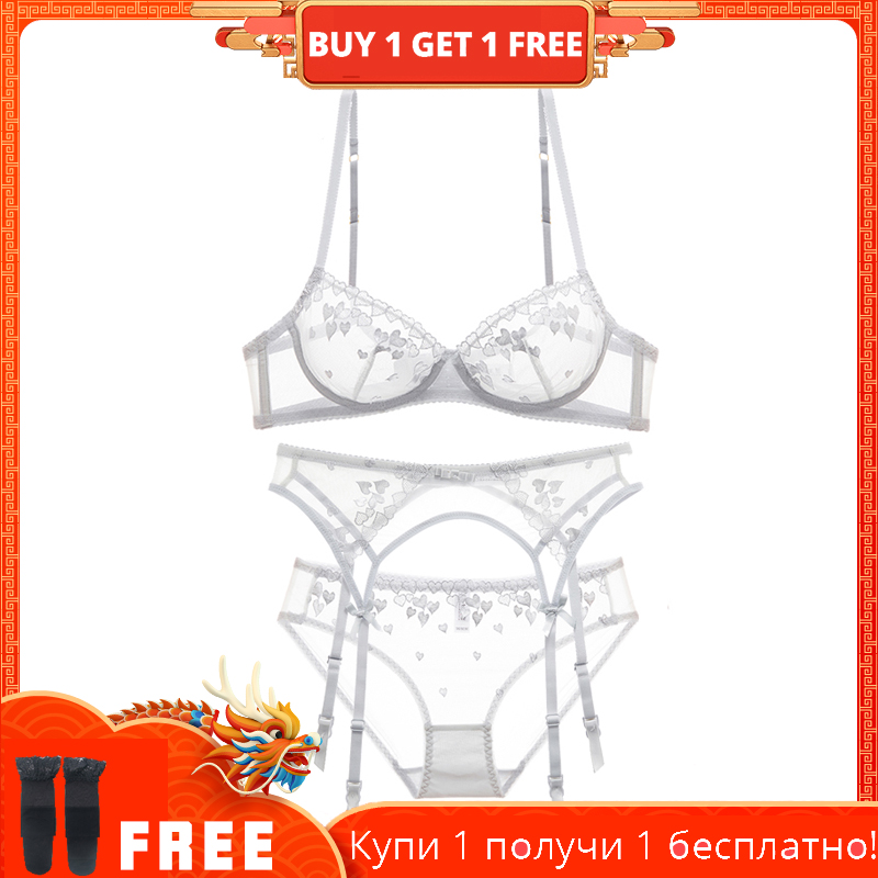 Sexy And Thin Sheer Mesh Bra With Garter Belt Set For Underpants, See-through Embroidered Bra
