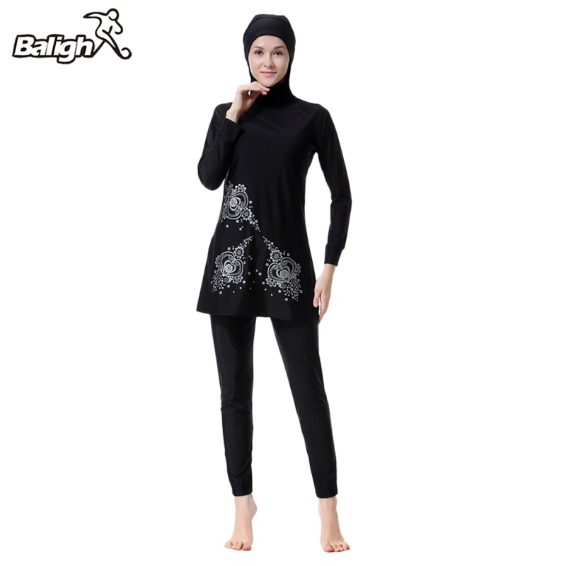 Balight 3pcs/set Muslim Swimsuit Print Clothes Ladies' Swimwear Modest Swimwear Muslim Swimming Clothes