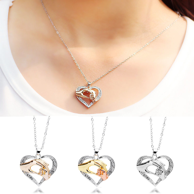 LNRRABC Hot 1 Pc Unisex Popular Heart Rhinestones Pendant Holding Hands Family Love Moms Gift Jewelry