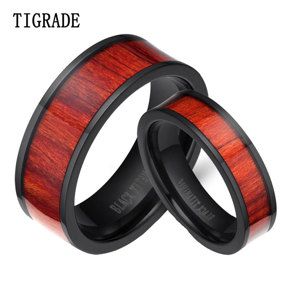 Classic Couple Wedding Rings Black Wood Inlay Flat Titanium Ring Men Women Wedding Band Engagement Fashion Couple Jewelry