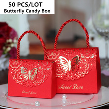 50pcs/lot Butterfly Portable Party Candy Boxes S/M/L Baby Shower Gift wedding party favor box gift boxes