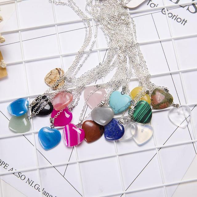 2017 Hot Opal Necklaces Silver Choker Necklace Heart Shape Design Opal Pendant E