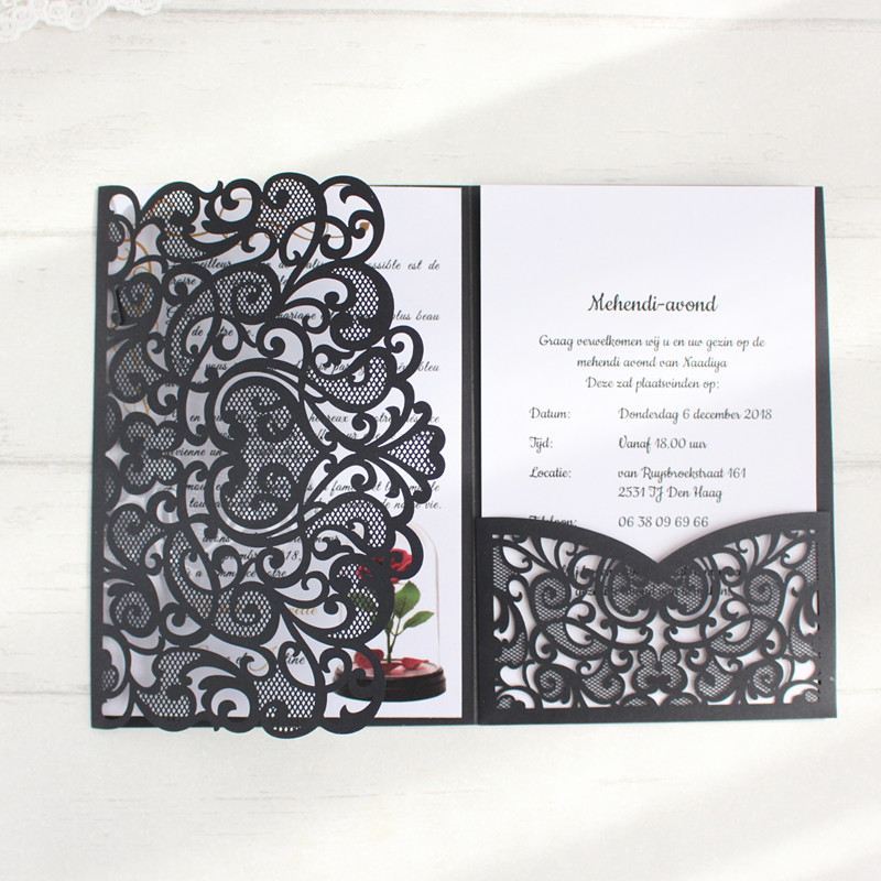 Black laser cut wedding invitations rural three fold party invite with envelop 50pcs