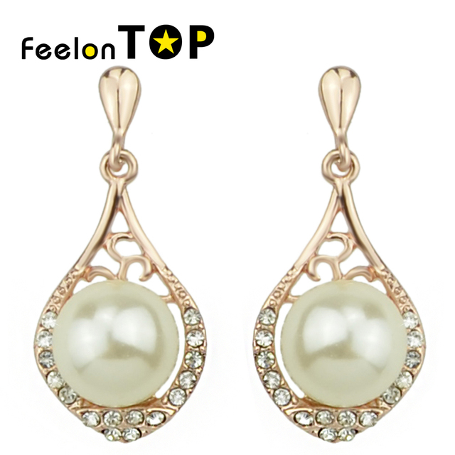 Brincos Women Rose Gold Color Rhinestone Imitation Pearl Dangle Drop