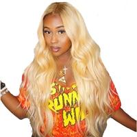 613 блондинка 360 Синтетические волосы на кружеве al парик предварительно сорвал с ребенком волос на теле волны 180 плотность Синтетические воло