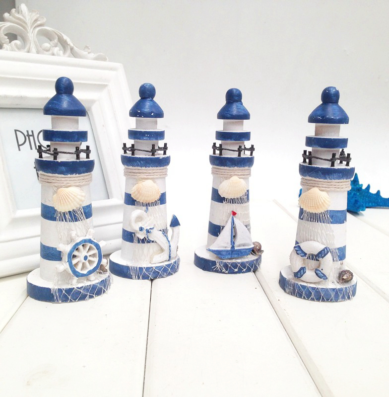 Mediterranean <font><b>home</b></font> <font><b>decor</b></font> lighthouse wood manualidades creative gifts small ornaments Christmas decoration