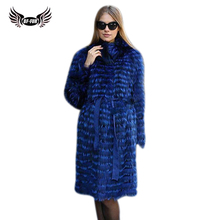 Womens Winter Real Fox Fur Coat 2018 NEW Ladies Thick Warm Long Female Jacket Silver Coats Russian