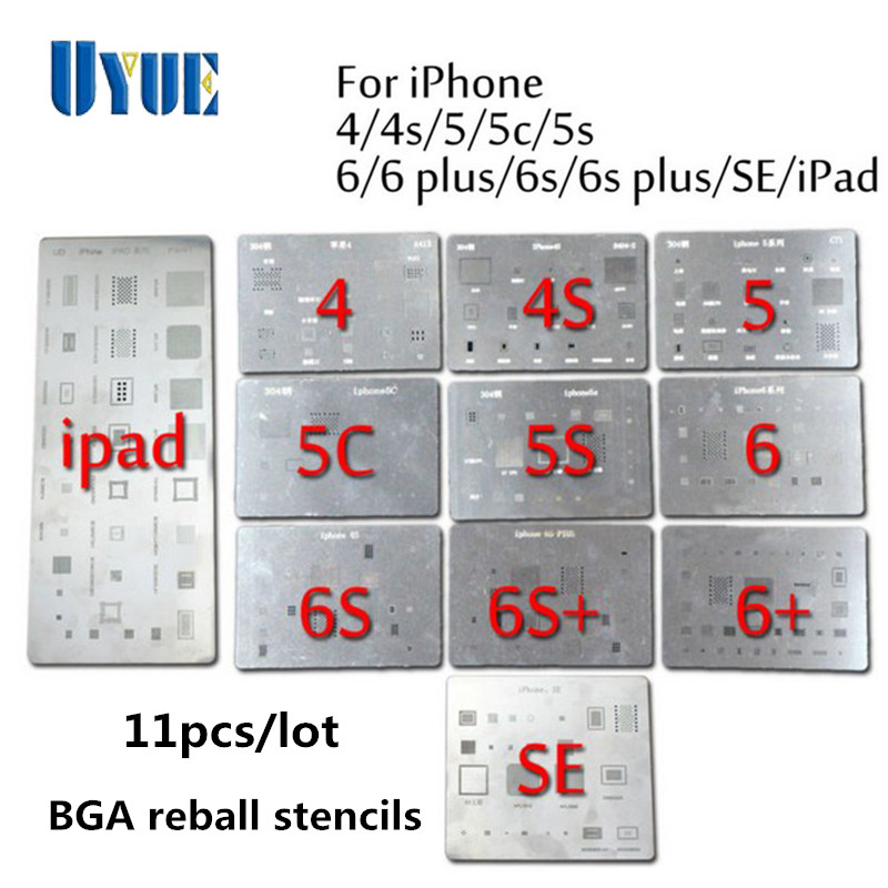 11Pcs/Lot High Quality Full Set BGA Reballing Stencil Dedicate Kit for iPhone 4 4s 5 5s 5c 6 6+ 6S 6s+ SE iPad Wholesale Price