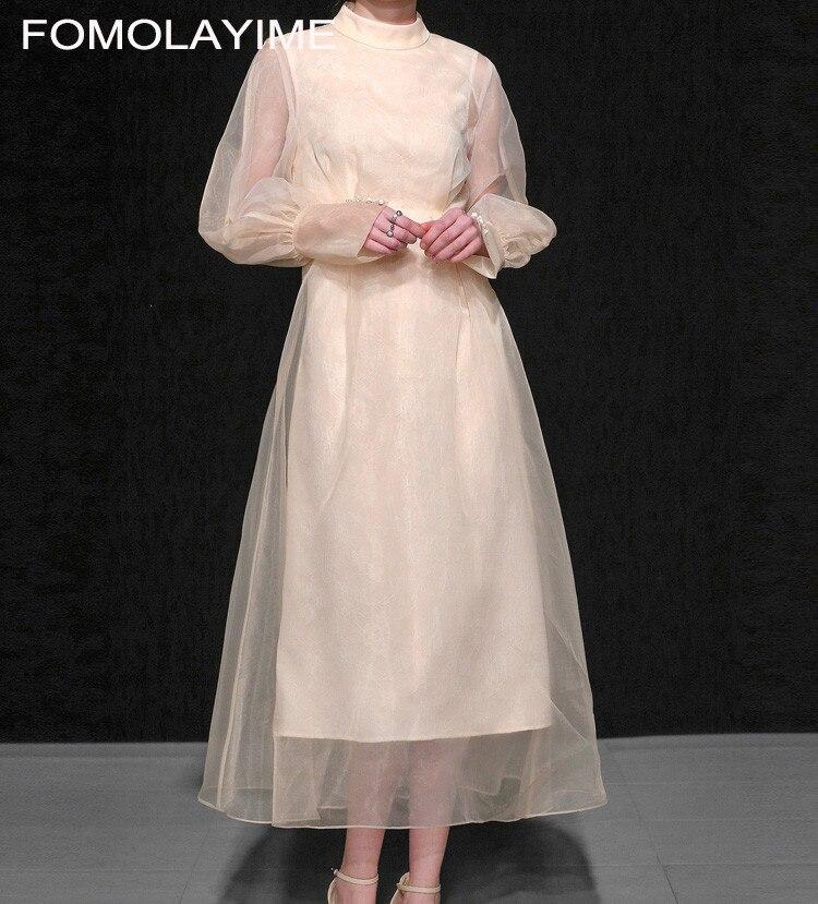 FOMOLAYIME Vestidos 2018 осенью новый Женская Мода Европейский элегантный темперамент Фонари рукава плиссированные большой платье