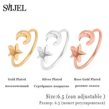 SMJEL New Star Moon Rings Midi Crescent Moon Open Rings for Women Girl Knuckle Ring Jewelry Bijoux Birthday Gifts  R161