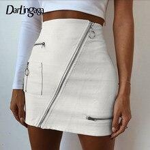037cddfe798 Darlingaga стильная юбка из искусственной кожи косой молнией пэчворк с  высокой талией короткие белые пикантные bodycon