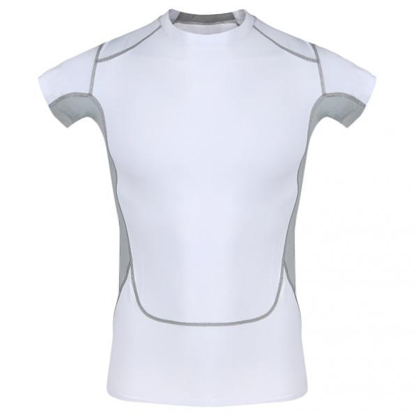 Men Gym Compression Fitness Sports Cycling Athletic T-Shirt Tops XL White