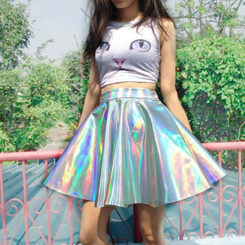 Mirrored Holographic Fabric Shiny Soft Faux Leather Fabric Dress Cloth Crafts