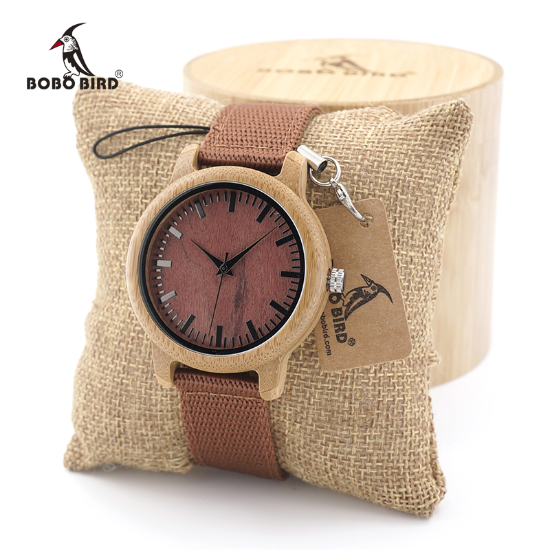 BOBO BIRD Bamboo Wooden Watches Mens Womens Red Dial Canvas Band Quartz Watch In Gift Box custom logo bamboo womens driven 77 casual wedge