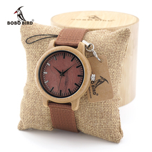 BOBO BIRD Wood Male Wacth Bamboo Wooden Wristwatches Mens Womens Red Dial Canvas Band Quartz In Gift Box Saat erkek