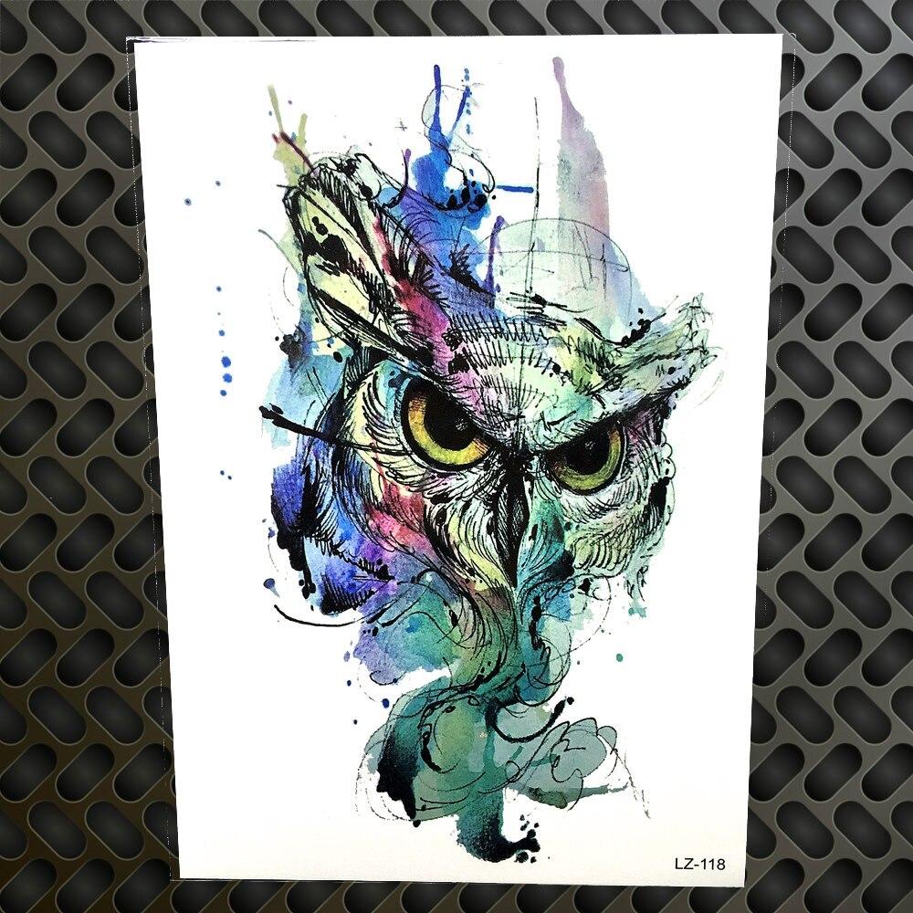Watercolor Wise Owl Temporary Tattoo Stickers Women Men Fake Flash Waterproof Body Art Arm Legs Water Color Tatoo Paste