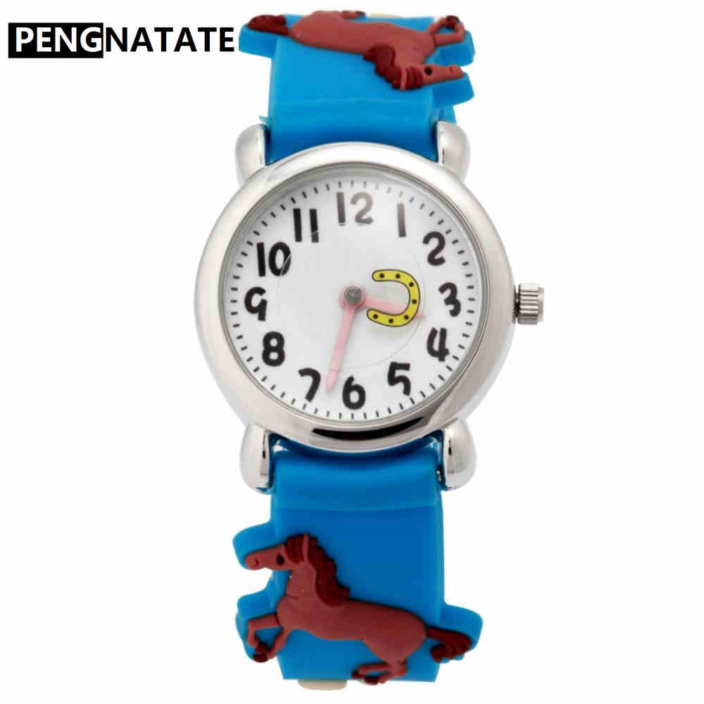 PENGNATATE Children Watches Boys Silicone Strap Kids Hand Watch Gifts Fashion Cartoon 3D Horse Bracelet Wristwatches for Student mymei pokemon go pikach wristband silicone bracelet party gifts bangle cute fashion