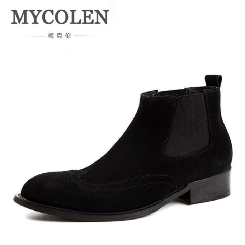 MYCOLEN Winter Boots Bullock Carved Men Shoes 2017 Top Fashion New Casual Leather Ankle Boots Trend Zipper Men Shoes botte homme 2017 new autumn winter british retro men shoes zipper leather breathable sneaker fashion boots men casual shoes handmade